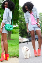 SoleStruck wedges - H&M jacket - Levis shorts - H&M top