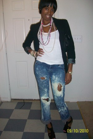 black Forever 21 blazer - white Forever 21 top - Wet Seal- jeans