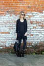 Black-anne-michelle-boots-black-sheer-flowy-papermoon-dress