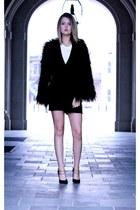 black kate spade saturday romper - black faux fur Urban Outfitters coat