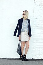 silver lace tee The Shopping Bag top - black Express blazer - black Guess bag