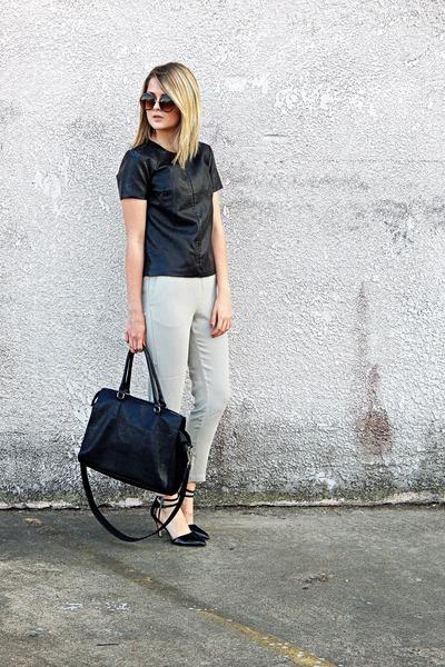beige trouser H&M pants - black tote H&M bag - black Antonio Melani heels