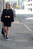 black cut-out casual H&M dress - black Express blazer - black tote H&M bag