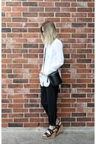 black Choies bag - black loose Forever 21 pants