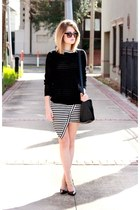white striped Choies dress - black open knit Forever 21 sweater