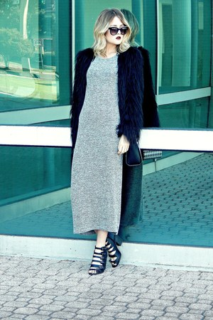black faux-fur Urban Outfitters coat - heather gray maxi Olive&Oak dress