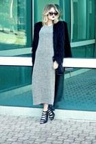 black faux-fur Urban Outfitters coat - heather gray maxi Olive&Oak dress