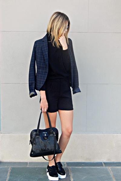 black turtleneck Gap sweater - navy structured Savile Row Co blazer