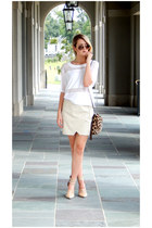 nude BCBGeneration heels - beige faux-leather Forever 21 skirt
