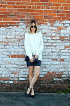black cotton on skirt - ivory Forever 21 sweater - black Antonio Melani heels