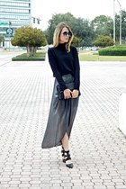 heather gray pleated BCBGeneration skirt - black turtleneck Gap sweater
