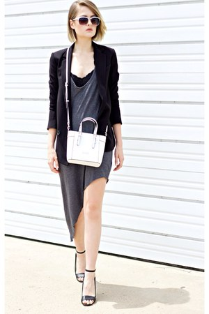 black Express blazer - gray angled hem dress - white Guess bag