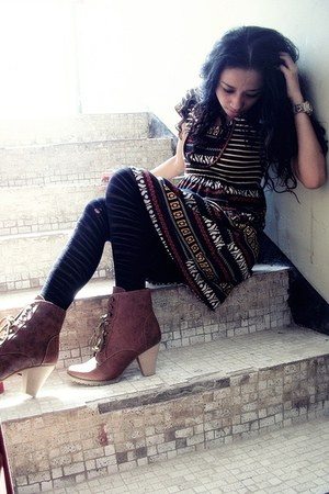 brown leather Moilukken boots - ethnic pattern Astronaut Skyward dress - zebra p