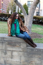 brown fur H&M coat - blue Old Navy jeans - magenta H&M sweater