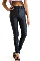 Coated Black High Waist Skinny Jeans