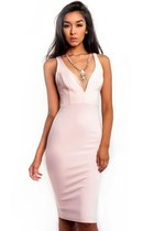 Blushy Seductress Plunging Midi Bodycon Dress