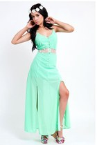 Mint Chiffon Festival Maxi Dress