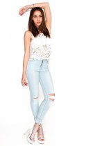 Light Blue Cutout Knee Skinny Jeans