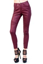 Burgundy Moto Skinny Faux Leather Pants
