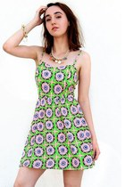 Neon Green Starburst Floral Skater Dress