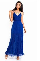 Royal Blue Crochet Backless Maxi Dress