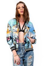 Fierce Mirrored Tiger Face Bomber Jacket