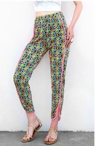 Electric Neon Floral Print Jogger Pants