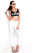 White High Rise Ripped Skinny Jeans