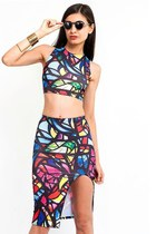 Stain Glass Crop Top Skirt Set