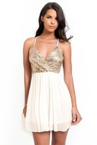 Gold Sequined Babydoll Dress