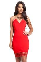 Crimson Vixen Caged Strapless Dress