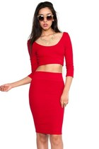Red Bow Back Crop Top Skirt Set