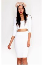 White Bow Back Crop Top Skirt Set