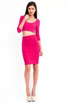 Fuchsia Bow Back Crop Top Skirt Set