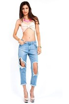Shark Bite Big Hole Boyfriend Jeans