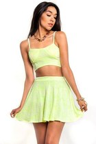 Neon Bra Top Skater Skirt Set