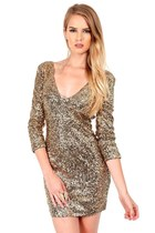 Gold 3/4 Sleeve Sequin Bodycon Dress