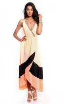 Neon High Low Colorblock Maxi Dress