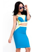 Fluorescent Colorblock Crop Tank Skirt Set