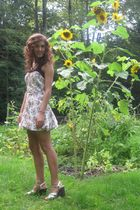 white Tracy Feith dress - gold Steve Madden shoes - brown Express top