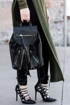 olive green high-slit top Forever 21 top - black leggings HUE leggings