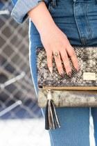 tan snakeskin Macys bag - blue mid-rise Forever 21 jeans