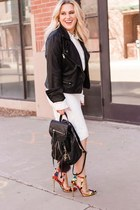 black leather look Nordstrom jacket - white collar Forever 21 blouse