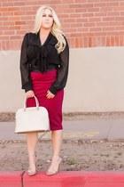 gold metallic Michael Kors bag - brick red pencil windsor skirt