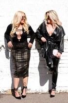 black street style Love Culture jacket - pencil windsor skirt