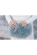 heather gray feather Ebay bag - nude mesh Love Culture bodysuit
