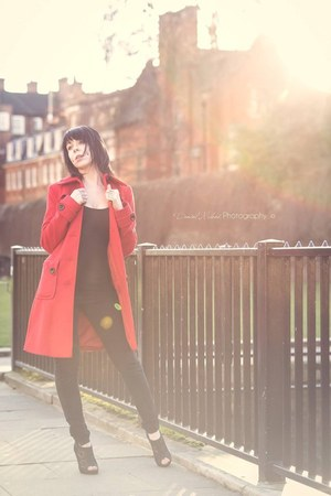 black jeans - red coat