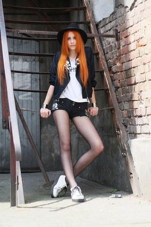 white creepers SequinShoes shoes - black handmade jacket - black handmade shorts