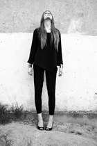 black second hand blouse - black no name pants - black F&F heels