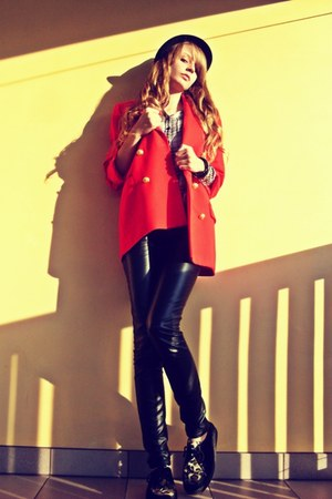 black deezee shoes - black Pimkie hat - red SH jacket - silver New Yorker shirt